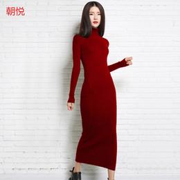 Atacado- 2017 novo outono e inverno sexy longo vestido macio feminino com gola longa suéter de cashmere feminino gola pulôver de malha de