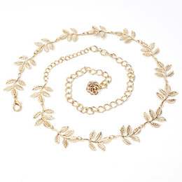 Wholesale Delicate Leaf - Delicate Waist Body Chain Exquisite Adjustable Metal Belts Leaf Flower Decoration Jewelry Waistband For Women 12 5hj B