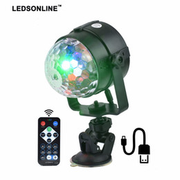 Wholesale magic crystal ball led remote - Stage Effect Light IR Remote RGB LED Crystal Magic Rotating Ball Lights Colorful for Party KTV DJ Disco Car Home Club