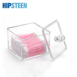 Wholesale Tier Boxes - HIPSTEEN Square Acrylic Cosmetic Organizer Cotton Ball Pad Holder Storage Box Makeup Case Container Single Tier Transparent