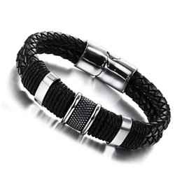 Wholesale Mens Weave Bracelet Leather - Fashion Wide Mens Weave Chain Wristband Stainless Steel Leather Bracelet For Men Classic Bracelets Bangle Jewelry