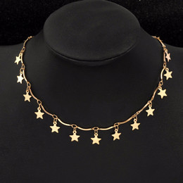 4a1fef37002 Boho or et argent étoile Singel couche collier pendentif pour les femmes  2018 colliers de Bohême Vintage mode collier bijoux fantaisie bijoux  fantaisie ...