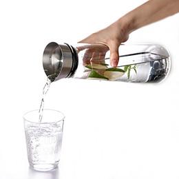 Chaleira, chá, pote on-line-1L Vaso De Chá De Vidro Transparente Sucos De Aço Inoxidável Pote garrafa Bottle Drinkware Hot Cold Water Chaleira Grande Capacidade de Acampamento Ao Ar Livre NNA583