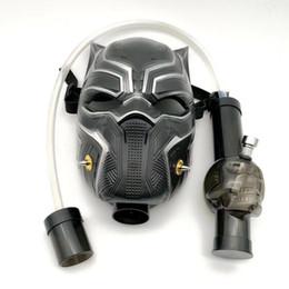 Maschere di fumo online-Maschera antigas fumante Bong Pipa nera Maschera antigas pantera nera Dab Rig con tubo dritto Narghilè Disponibile