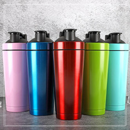 Wholesale powdered protein - 720ml Stainless Steel Sport Water Bottle Protein Powder Shaker Water Kettle Double Wall Vacuum Insulated Lifetime Gym Car Mug CCA9823 20pcs