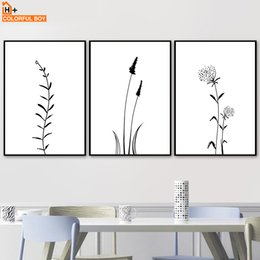 Wholesale flowering plants pictures - COLORFULBOY Black White Minimalist Flower Plant Wall Art Print Canvas Painting Nordic Poster Wall Pictures For Living Room Decor