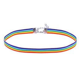 Wholesale Lace Ribbon Chokers - lace necklace men Women Gay Pride Rainbow Choker Necklace Gay and Lesbian Pride Lace Chocker Ribbon Collar with Pendant Jewelry 162572