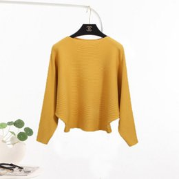 Wholesale Red Dolman Sweater - Free shopping Korean winter collar female short sleeved bottoming sweaters set solid thin sweater BianFuShan loose head
