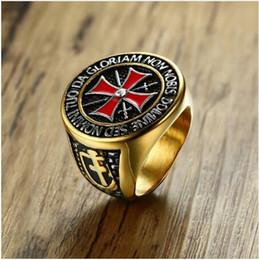 Anelli massonici di gioielli per gli uomini online-Cavaliere Templare Mens Cross Ring con Cubic Zirconia Maschile Masonic Band in acciaio inossidabile per uomo Vintage Jewelry Anel Aneis Anillos