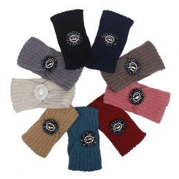 Wholesale Celtic Crystal Headband - 9 Colors Hot Fashion Women Winter Crochet Knitted Crystal Rhinestone Turban Headband Knitted Hair Bands Great Gift