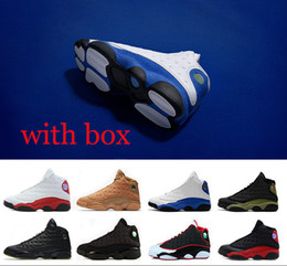 Wholesale Pure White Shoes - With box High quality retro 13 Hyper Royal Basketball shoes black cat Chicago olive pure money 13s sports trainers sneaker US 8-13