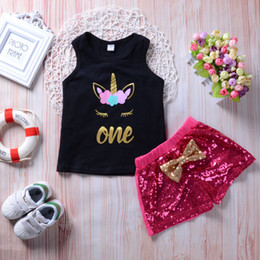 Wholesale Sequin Vests Black - Baby Girl Pink Sequins Blingbling Shorts+ Black Unicorn Vest 2Pcs set Outfits Kid Casual Clothes Girls Summer Boutique Costume Clothing