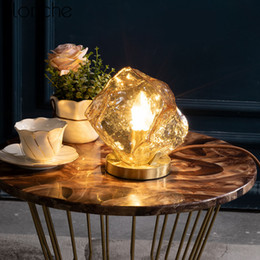 стенды для чтения Скидка Nordic творческий стекло настольные лампы для спальни прикроватные лампы современный Медный стол стенд светильники исследование чтение домашнего декора