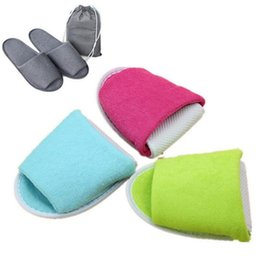 Wholesale Disposable Travel Slippers - Disposable Folding Slippers Women Men Travel Business Trip Hotel Club Portable Home Guest Slippers With Bag OOA4183