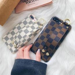 Wholesale Fashionable Phones - Fashionable classic grid wristband phone case for iPhoneX 8 8plus 7 7plus hard black cover for iPhone6 6Splus luxury brand