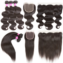 Wholesale Medium Brown Lace Closure - Brazilian Virgin Hair Body Wave Straight Hair Human Hair Weft 3 Bundles With Lace Closure 4x4 Or 13x4 Lace Frontal Ear To Ear