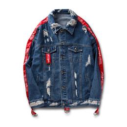 Wholesale Ribbon Jeans - Distressed Ripped Denim Jacket Mens Hip Hop Printed Denim Jackets Male Fashion Ribbon Jeans Coats Streetwear Black Blue 2018