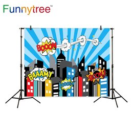 Wholesale canvas scenic paintings - Funnytree photography background blue superhero building cartoon boom for boy birthday backdrop photocall photo studio printed