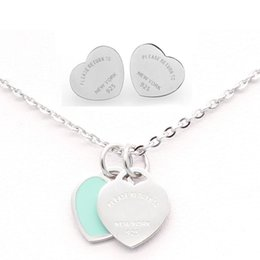 Wholesale jewelry sets rhinestone 925 - 3 styles 316L Stainless Steel Double Heart Earrings Necklace Please return to New York 925 Letters Necklace Wedding Jewelry set for Women