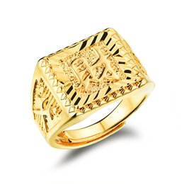 Chinesische goldringe online-Luxus-18K Gold überzog Mann-Ring Top-Qualität Marken-Schmucksachen Klassische Property In der chinesischen Gravieren Man Party Geschenk Adjutable KJ032