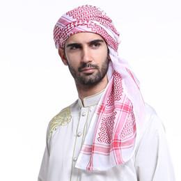 2019 fascia di turbante hijab 2018 Malesia Abaya Dubai Islam Poncho musulmano a righe Uomini Hijab Fascia Turbante Scialle Lunga sciarpa di capelli turbante Jilbab Foulard fascia di turbante hijab economici