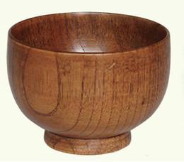 Tigela de madeira de arroz on-line-DHL ECO Tigela de madeira tigela estilo Japonês recipiente de madeira natural tigela de registro de mesa de frutas salada de arroz cozinha rodada tigela de alta qualidade