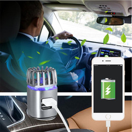Wholesale usb freshener - 2-in-1 Ionic Car Air Purifier Dual USB Charger 12(V) Ionizer With Blue LED Light Car Air freshener For Removing Smoke Dust Odor