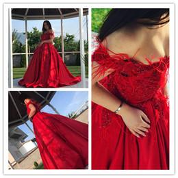 turquía vestidos de novia rojo Rebajas Vestido de fiesta rojo Vestido de novia de satén Tallas grandes Vestidos de novia Turquía con plumas 2019 Nuevo elegante con cuentas Nigeria Vestito da Sposa Vestidos de novia