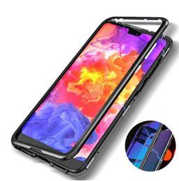 2019 cubierta de metal huawei Estuche rígido de metal de adsorción de imán magnético 360 para iPhone X 8 Plus 7 6 6S + cubierta trasera de vidrio para Huawei P20 P20lite rebajas cubierta de metal huawei