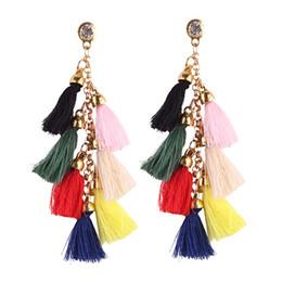 Wholesale Fringe Charm - Long Fringe Earrings Fashion Multicolor Cotton Thread Tassel Stud Vintage Long Tassel Earrings Bohemian Stud Cute Tassel Charm Wome Stud