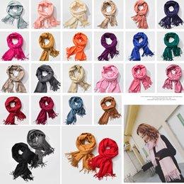 sciarpa variabile Sconti 22styles donna frange solido scialle sciarpa calda imitazione cashmere wrap fazzoletto variabile sciarpa coperta di moda 210 * 70 cm FFA791 20 pz