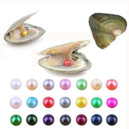 Wholesale horoscope days - 2018 new Akoya High quality cheap love freshwater shell pearl oyster 6-7mm red gray light blue pearl oyster with vacuum packaging A-1008