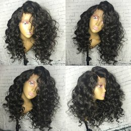 Wholesale curly silk top lace wig - Pre Plucked 180% Density Silk Top Full Lace Human Hair Wigs With Baby Hair Curly Brazilian Remy Hair Wigs For Black Women