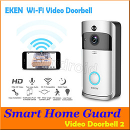 Wholesale wireless pir - EKEN Smart Wireless Video Doorbell 2 720P HD 166° Wifi Security Camera Real Time Two Way Talk and Video PIR Motion Detection APP Control