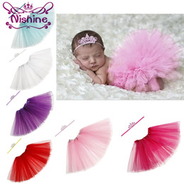 Wholesale Crowning Dress Girls - Nishine Newborn Tutu Dress With Crown Headband Set For Girls Birthday Photography Props Kids Dresses Princess Girl Clothes