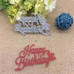 Wholesale happy birthday metal - Wish letters happy birthday Metal cutting dies Stencil Scrapbooking Photo Album Card Paper Embossing Craft DIY Die Cut