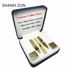 Wholesale diy tie clip - SHANH ZUN DIY Custom Stainless Steel Collar Stays Tie Clip Cufflinks Personalized Gift Set for Mens Dress Shirt