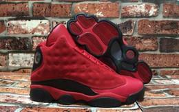Zapatillas de baloncesto súper baratas online-Comercio al por mayor 13 XIII ¿Qué es el amor 13s Sneakers Negro Rojo Suede Hombres Zapatillas de baloncesto Hombres zapatillas baratas para la venta 888164-601 Super calidad