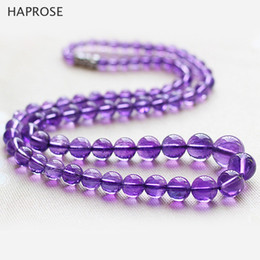 Wholesale Semi Jewels - 5A Amethysts Necklace Gifts Women Girls Beads Semi Finished Stones Balls perimeter48cm clavicle jewels 6-12mm beads Free mail
