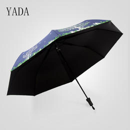 Wholesale Fabric Life - YADA Blue & White Good love Life Tree Folding Charms Umbrella Rain Women uv Umbrella Car For Womens Windproof Umbrellas YS033