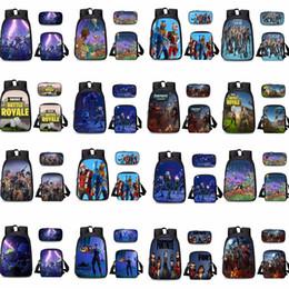 Wholesale cartoon outdoor games - 25styles Game Fortnite cartoon School Backpack computer Backpacks 3pc set Fortnite Print Messenger outdoor Bag Pencil case wallet GGA697