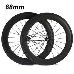 Wholesale Road Bike Race Wheels - 700C 88mm Clincher Tubular 23mm Width 3K Carbon Wheels Road Bike Bicycle Wheel Racing Touring Wheelset