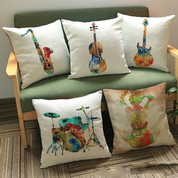Wholesale music pillow cases - Painting guitar saxophone Drum Cushion Covers Modern Music Instrument Cushion Cover Sofa Decorative Linen Cotton Pillow Case