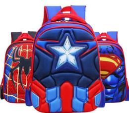 Wholesale spiderman kids bags - Kids Backpacks Spiderman Superman children schoolbag pupils cartoon characters backpack negative bags best quality 3 size SB0005