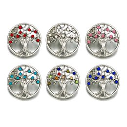 Wholesale button necklace diy - Wholesale Tree metal Rhinestone Snap Buttons w187 Diy Jewelry fit 18mm Snap button Necklaces Bracelets for women Findings