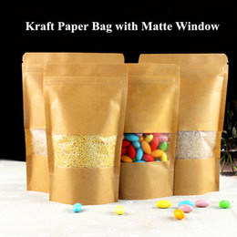 zipper seal kraft bag Coupons - Zip Lock Kraft Paper Window Bag Heat Seal Valve Doypack Zipper with Frosted Window Biscuit Coffee Storage Pouch