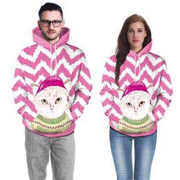 Pink Christmas Couples Streetwear Winter Sweetheart Felpe Unisex Hot Novità  Xmas Cute Cat Stampa Felpe con cappuccio sconti cappelli di natale di novità a87651c191de