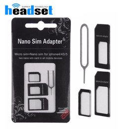 Wholesale Sim Card Tray Eject - 4 in 1 Nano Sim Card Adapter + Micro Sim card adapter + Standard SIM Card Adapter With Eject pin For Iphone 5 5s 6 6s 6 plus for iphone