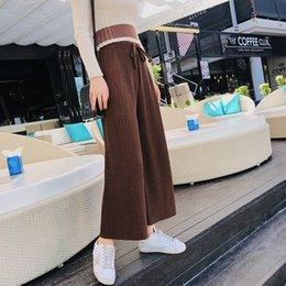 fee7a6225d9 Autumn and winter Women s Pants new Korean women s high waist wide leg pants  with knitted trousers