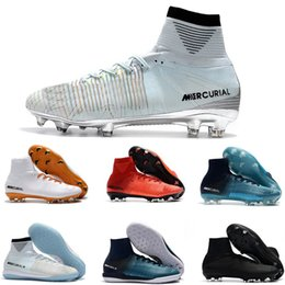 Wholesale Kids Green Boots - New 2018 Gold CR7 Football Boots Size 39-45 Mercurial Superfly V White Silver CR7 FG Soccer Shoes Mens Women Kids Outdoor Soccer Cleats
